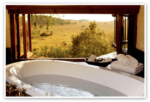 Bathroom overlooking plains Tshukudu Bush Lodge Malaria Free Big Five Pilanesberg Game Reserve Accommodation Booking
